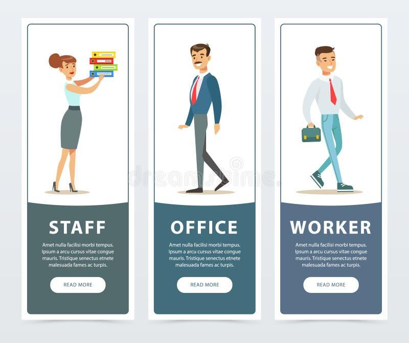 Uppsättning av baner med tecken för kontorsarbetare i formella kläder Hållande mappar för flicka, pojke som går med portföljen, m stock illustrationer