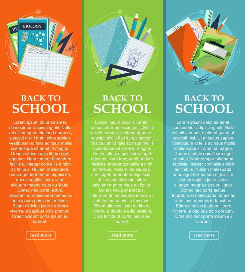 Uppsättning av baner tillbaka till skolan med brevpapper, mappar, böcker och anteckningsböcker med stället för din text vektor royaltyfria bilder
