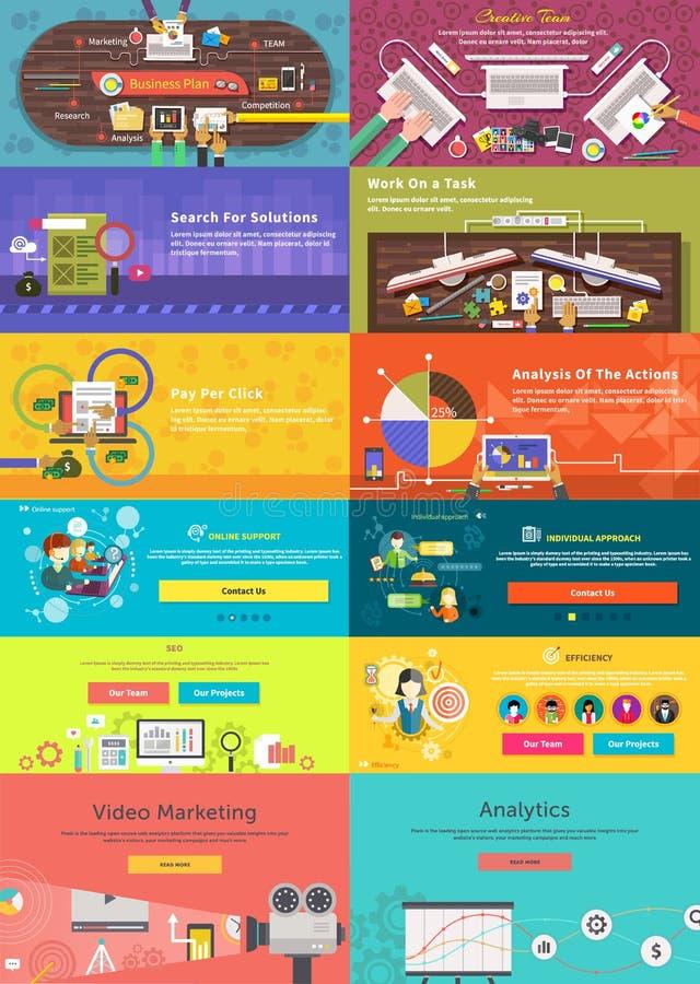 Uppsättning av banerbegreppslön per klicken, affärsplan stock illustrationer