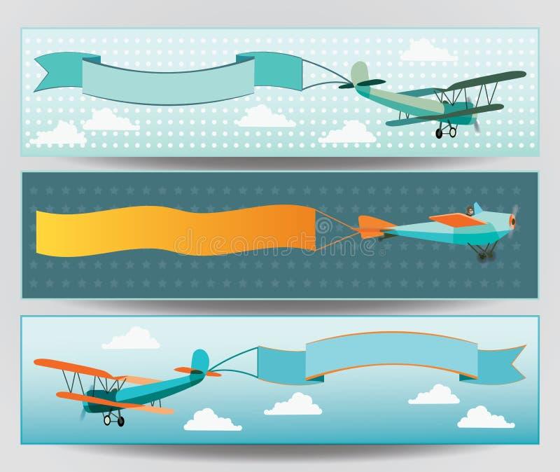 Uppsättning av banerdesignen med tappningflygplan vektor illustrationer