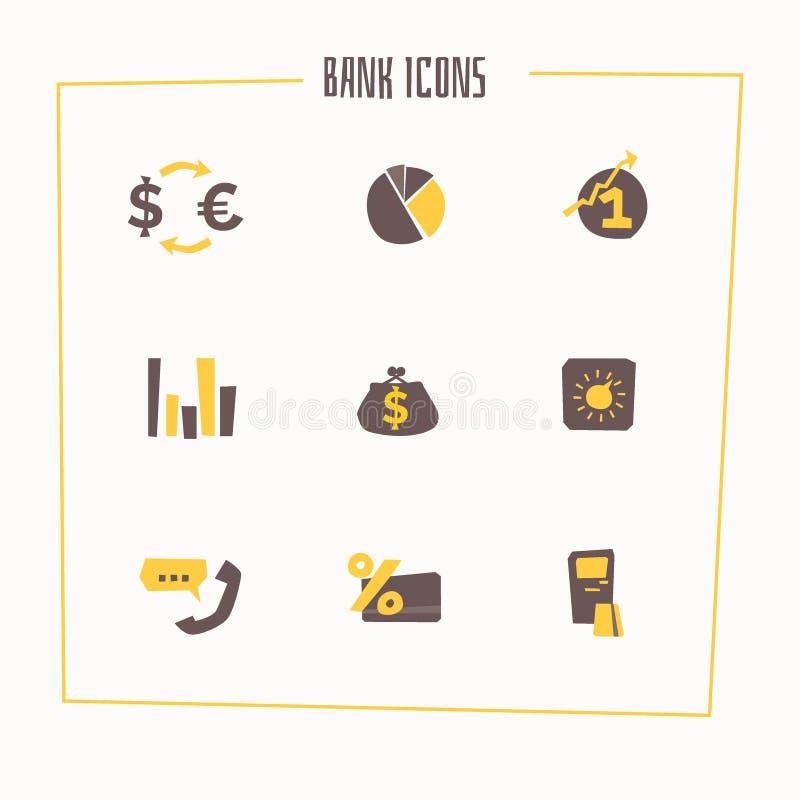Uppsättning av bankrörelsesymboler i tecknad filmstil vektor illustrationer