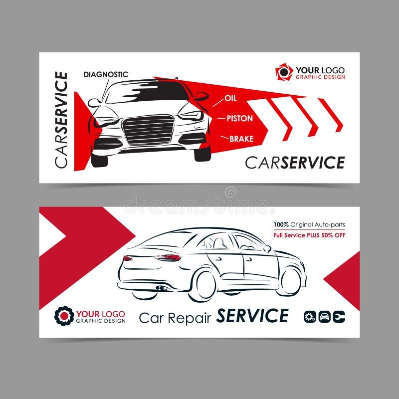 Uppsättning av banret för service för auto reparation, affisch, reklamblad Mallar för orientering för tjänste- affär för bil royaltyfri illustrationer