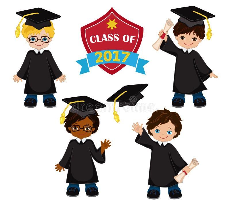 _ Uppsättning av barn i en avläggande av examenkappa och akademikermössa stock illustrationer