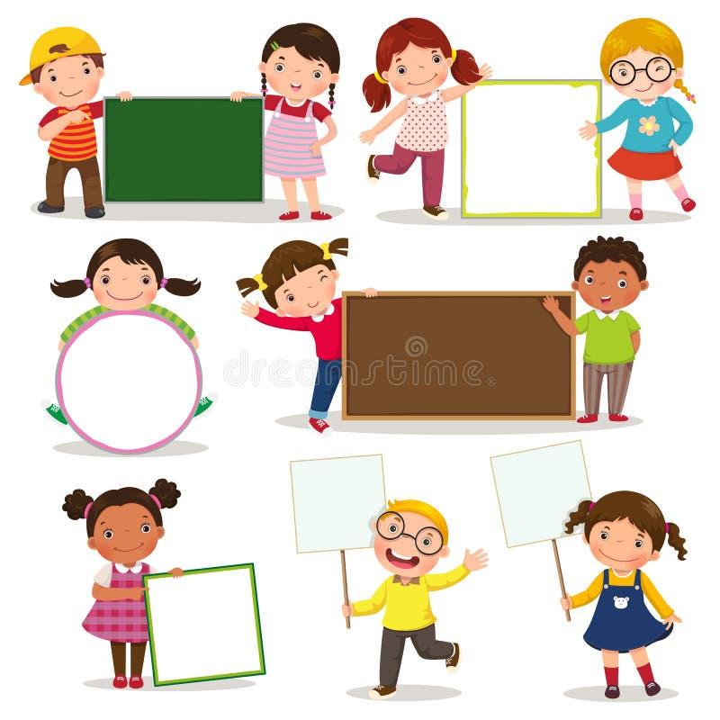 Uppsättning av barn som rymmer tomt tecken royaltyfri illustrationer