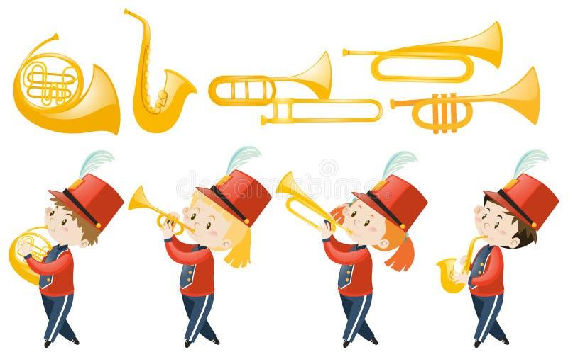 Uppsättning av barn som spelar musikinstrument vektor illustrationer