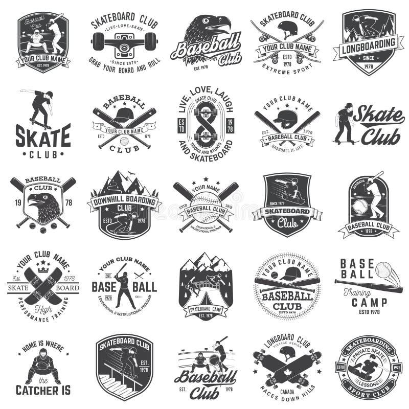 Uppsättning av baseball- och skateboardklubbaemblemet också vektor för coreldrawillustration Begrepp för skjorta eller logo, tryc stock illustrationer