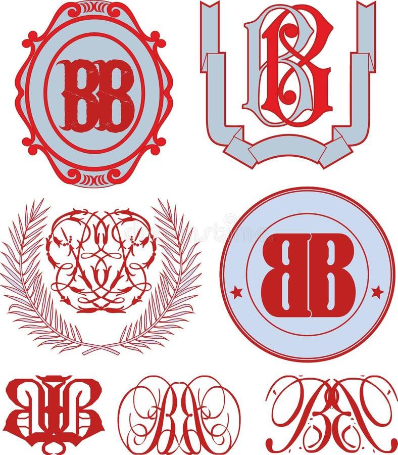 Uppsättning av BBmonogram och emblemmallar royaltyfri illustrationer