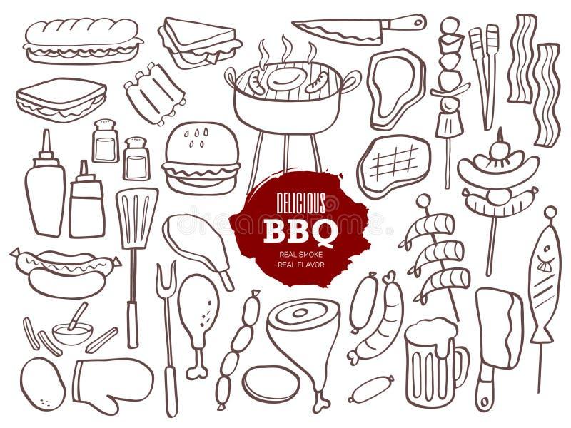 Uppsättning av BBQ-klotter royaltyfri illustrationer