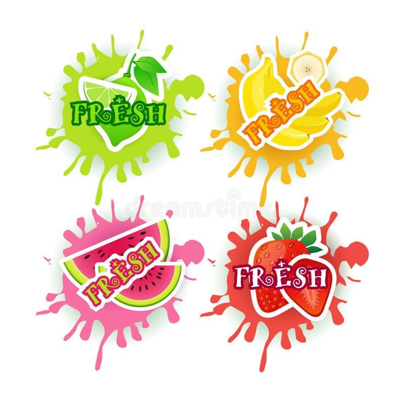 Uppsättning av begreppet för gårdsprodukter för mat för ny Juice Logo Fruits Over Paint Splash bakgrund det naturliga vektor illustrationer