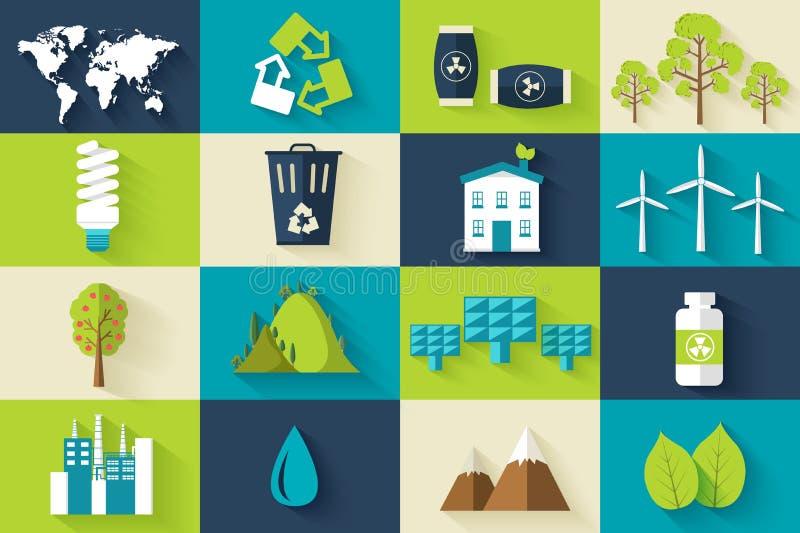 Uppsättning av begreppet för illustration för ekologilägenhetsymboler Vektorecomall av beståndsdelen för din produkt- eller infog stock illustrationer