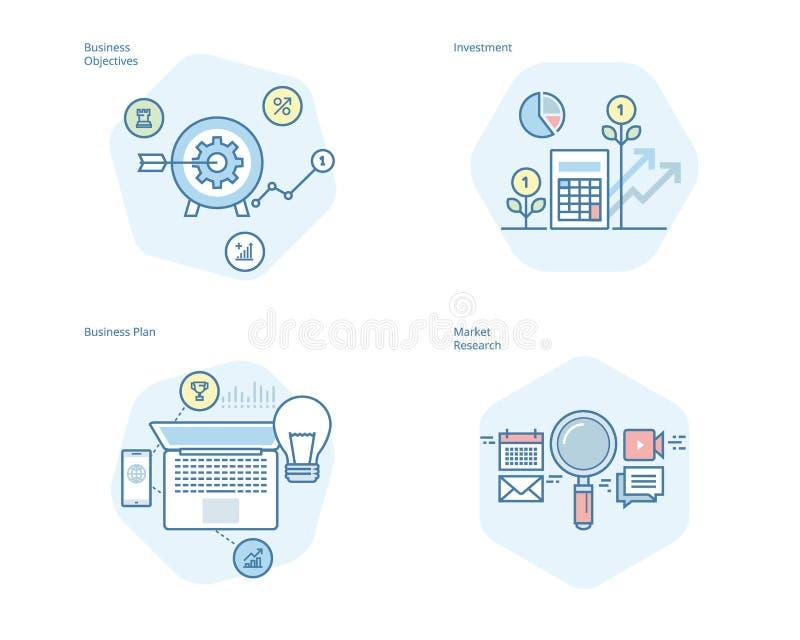 Uppsättning av begreppslinjen symboler för affärsplanet och mål, marknadsforskning, investering vektor illustrationer
