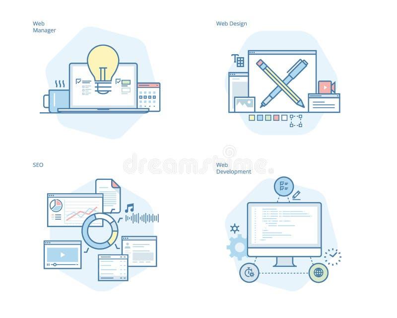 Uppsättning av begreppslinjen symboler för rengöringsdukdesignen och utveckling, SEO, rengöringsdukchef stock illustrationer
