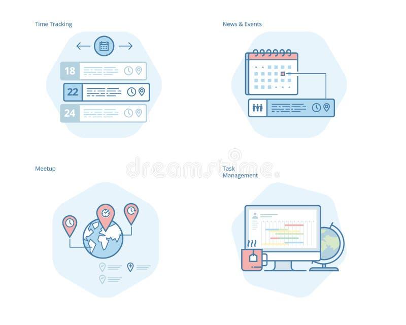 Uppsättning av begreppslinjen symboler för tidchefen, nyheterna och händelser, meetup, uppgiftsledning, tidspårning vektor illustrationer