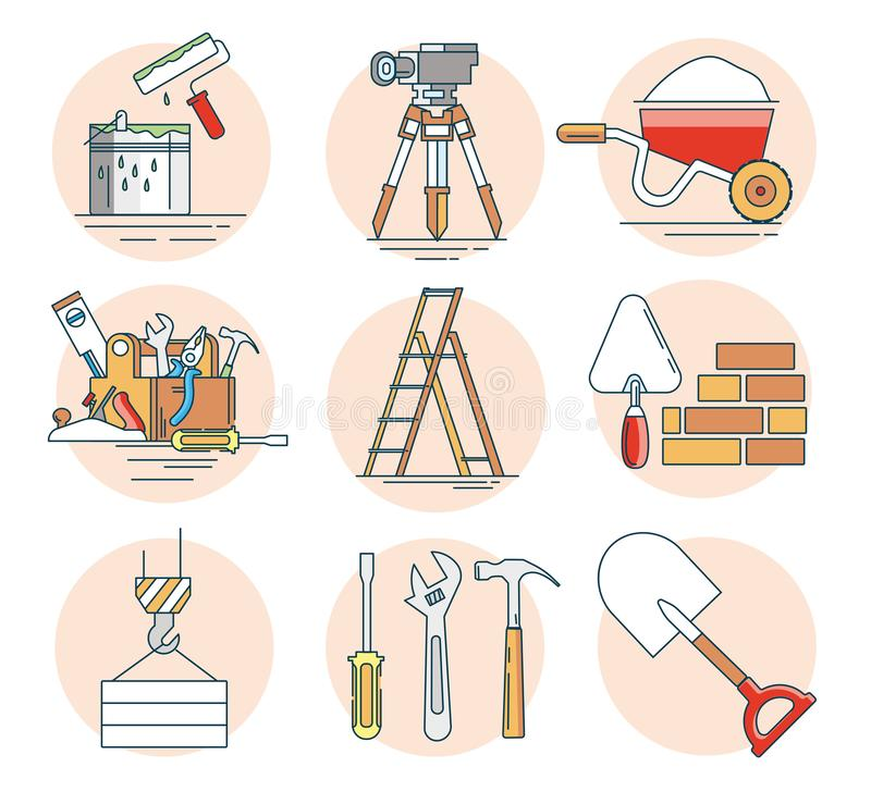 Uppsättning av begreppslinjen symboler som bygger hjälpmedel stock illustrationer
