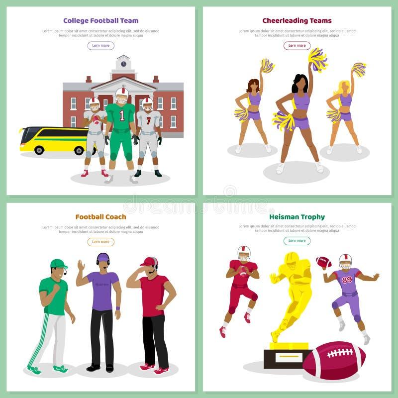 Uppsättning av begreppsmässiga rengöringsdukbaner för amerikansk fotboll vektor illustrationer