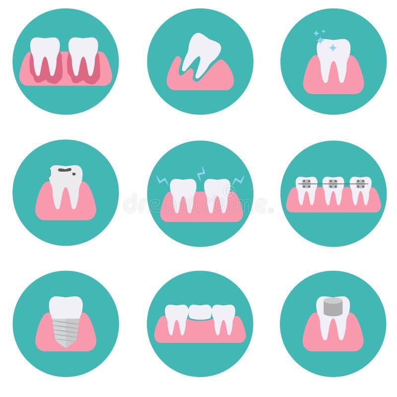 Uppsättning av begreppsmässiga symboler för modern plan vektor av tandvillkor, stomatology, tandläkekonst, ortodonti, muntlig häl stock illustrationer