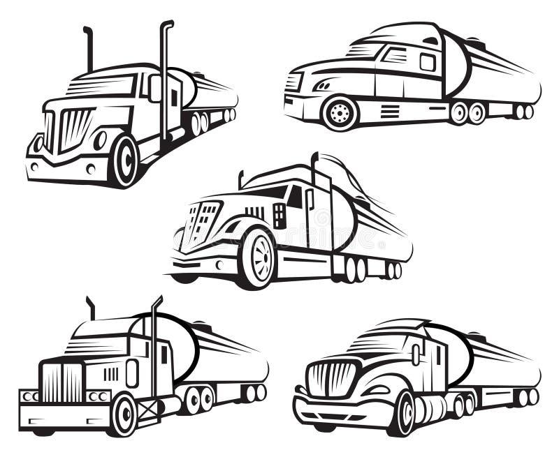 Uppsättning av behållarelastbilen vektor illustrationer