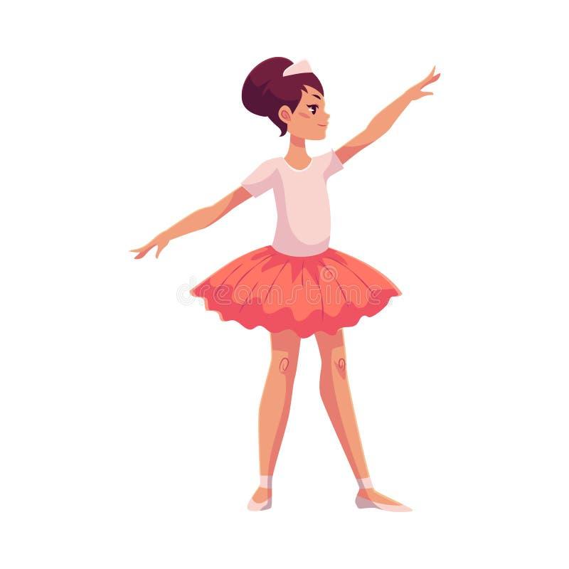 Uppsättning av behagfulla nätta unga ballerina i rosa ballerinakjol vektor illustrationer