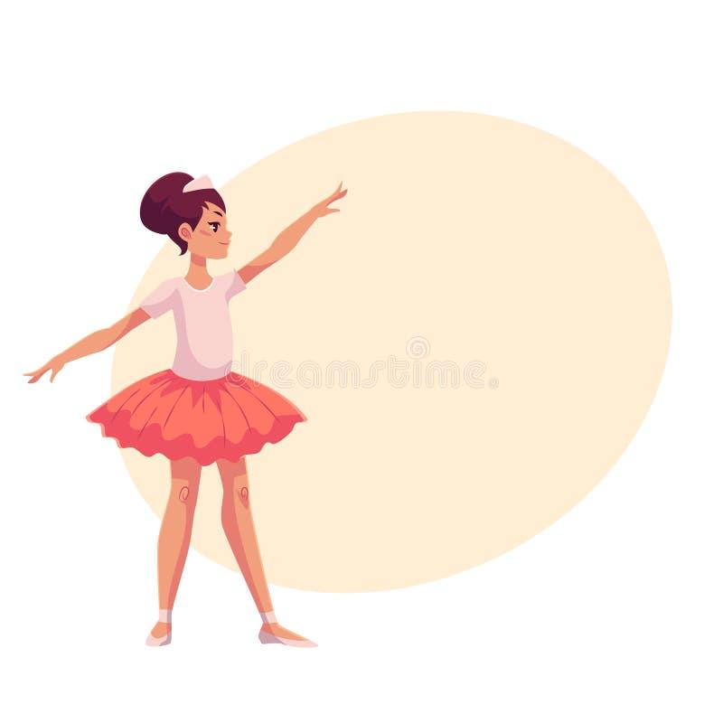 Uppsättning av behagfulla nätta unga ballerina i rosa ballerinakjol royaltyfri illustrationer