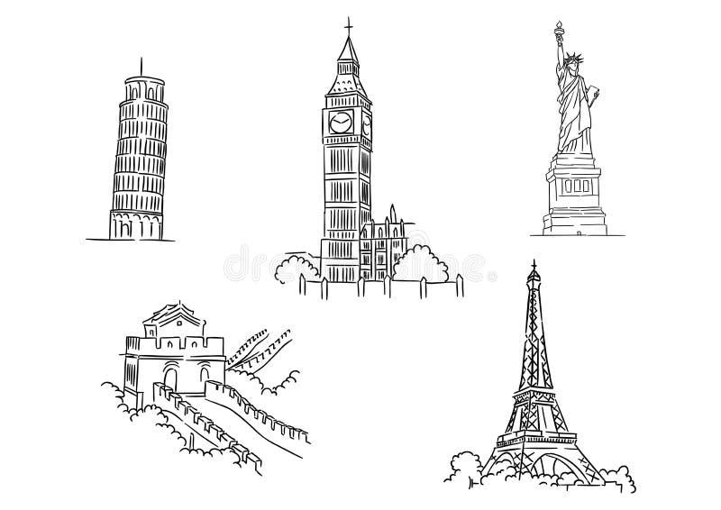 Uppsättning av berömda världsgränsmärken royaltyfri illustrationer