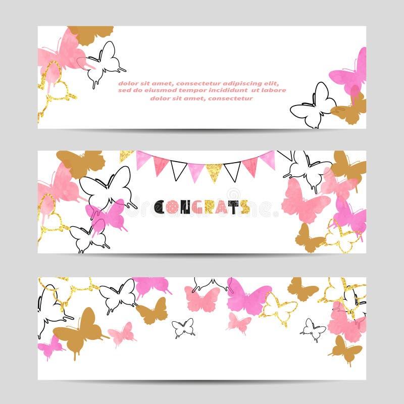 Uppsättning av berömpartibaner med rosa fjärilar royaltyfri illustrationer