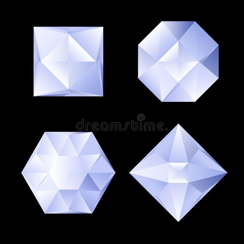 Uppsättning av bergkristaller stock illustrationer
