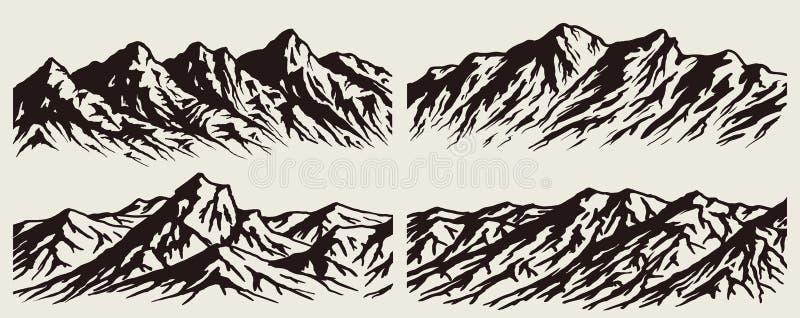 Uppsättning av bergskedjakonturer vektor illustrationer