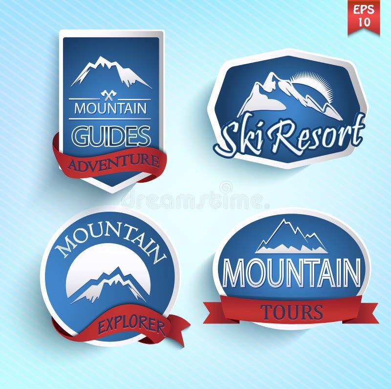 Uppsättning av bergsymbolen stock illustrationer