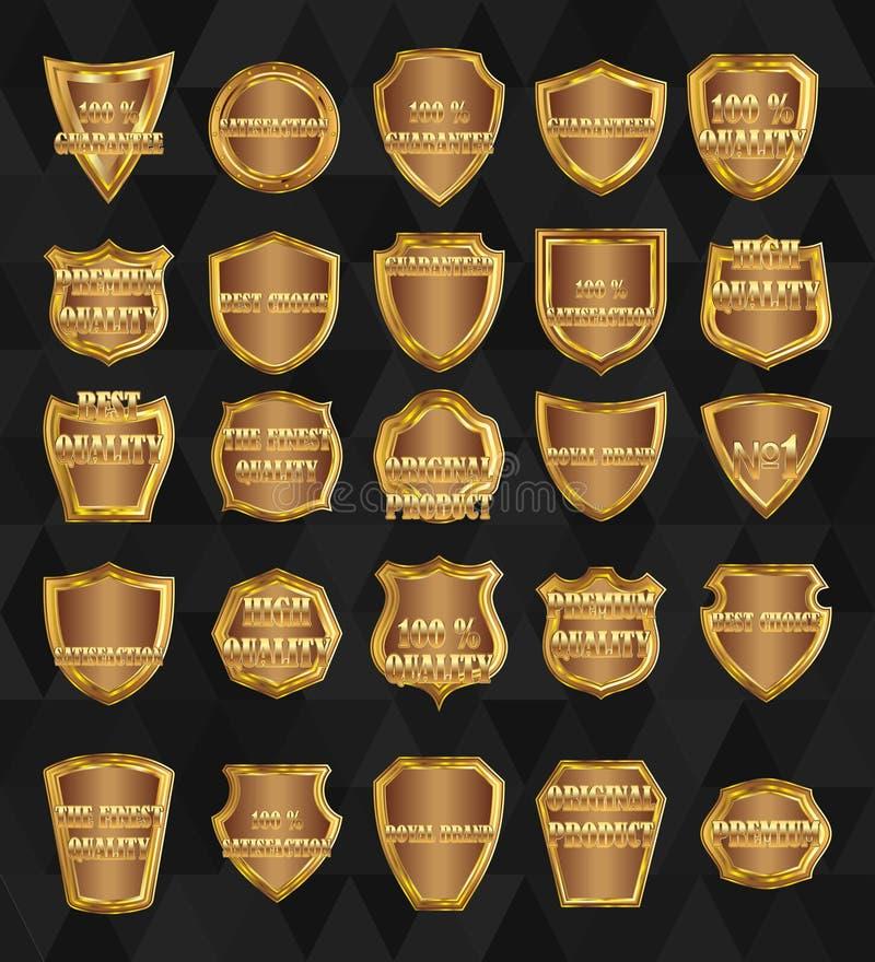 Uppsättning av beståndsdel-guld- sköldar för tappningdesign stock illustrationer