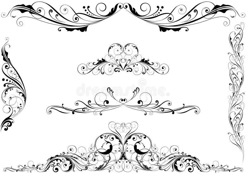 Uppsättning av beståndsdelar för blom- design för virvel vektor illustrationer