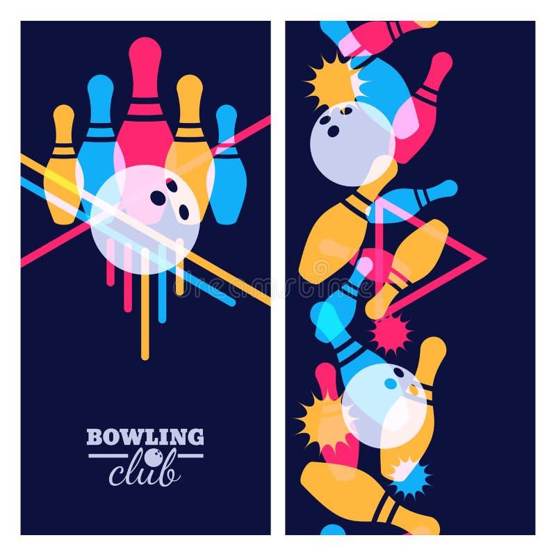 Uppsättning av beståndsdelar för bowlingbaner-, affisch-, reklamblad- eller etikettdesign Vertikal sömlös färgrik svart bakgrund stock illustrationer