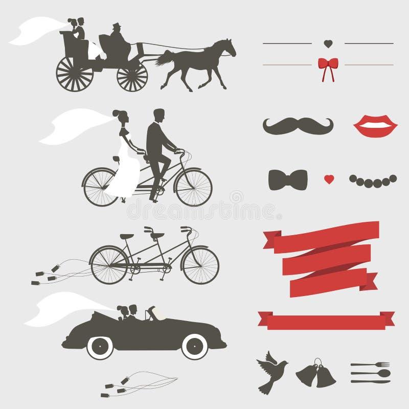 Uppsättning av beståndsdelar för bröllopinbjudandesign royaltyfri illustrationer