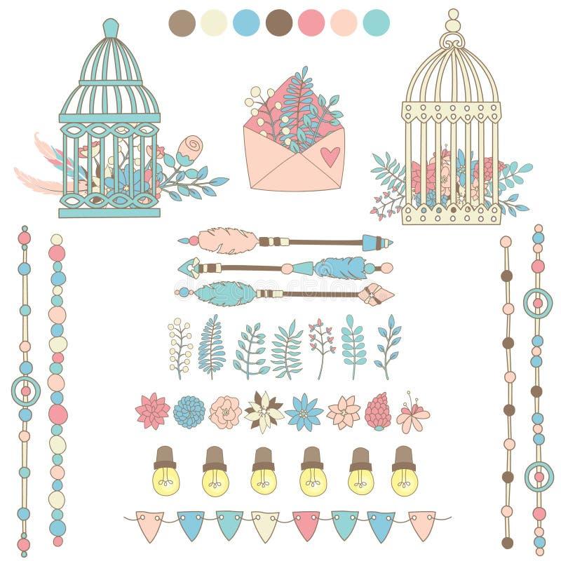 Uppsättning av beståndsdelar för gifta sig eller andra partikort, inbjudningar royaltyfri illustrationer