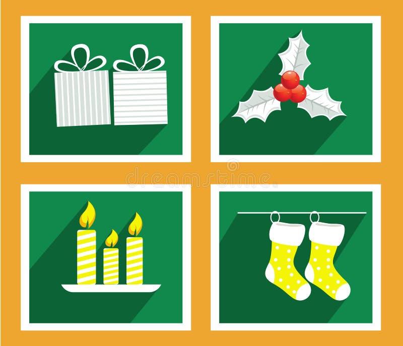 Uppsättning av beståndsdelar för hälsningkort för jul och för nytt år royaltyfri illustrationer