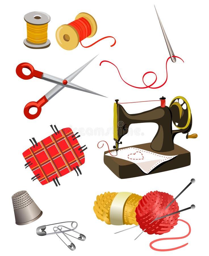 Uppsättning av beståndsdelar för handarbete vektor illustrationer