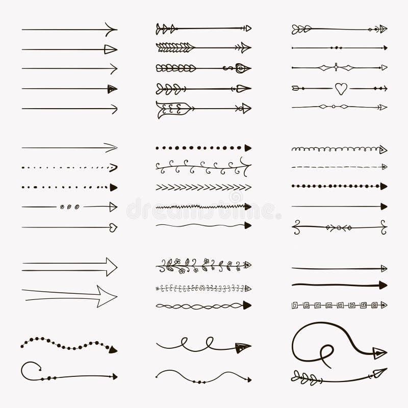 Uppsättning av beståndsdelar för svart hand för vektor drog pil formade vektor illustrationer