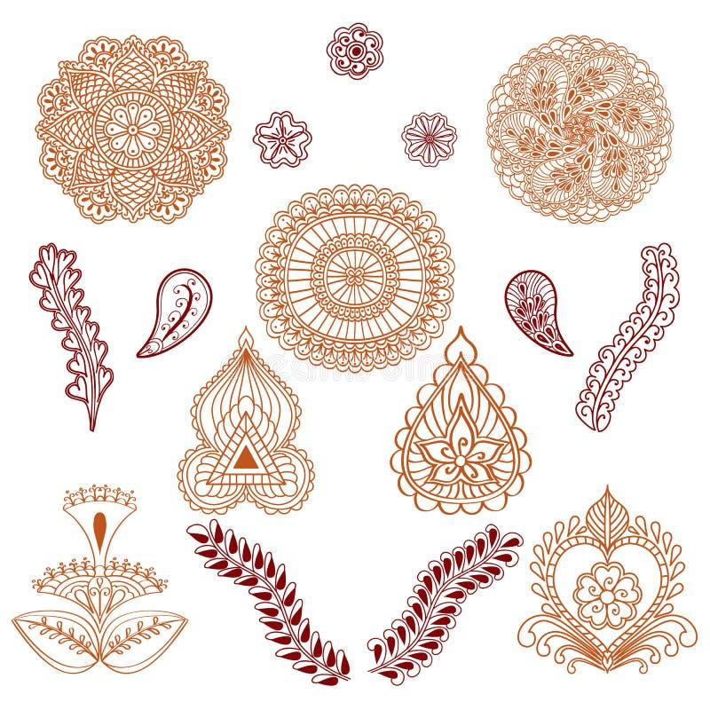 Uppsättning av beståndsdelar i den etniska stilen av teckningshenna som isoleras på vit bakgrund royaltyfri illustrationer