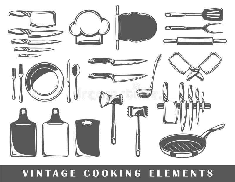 Uppsättning av beståndsdelar av matlagningen stock illustrationer
