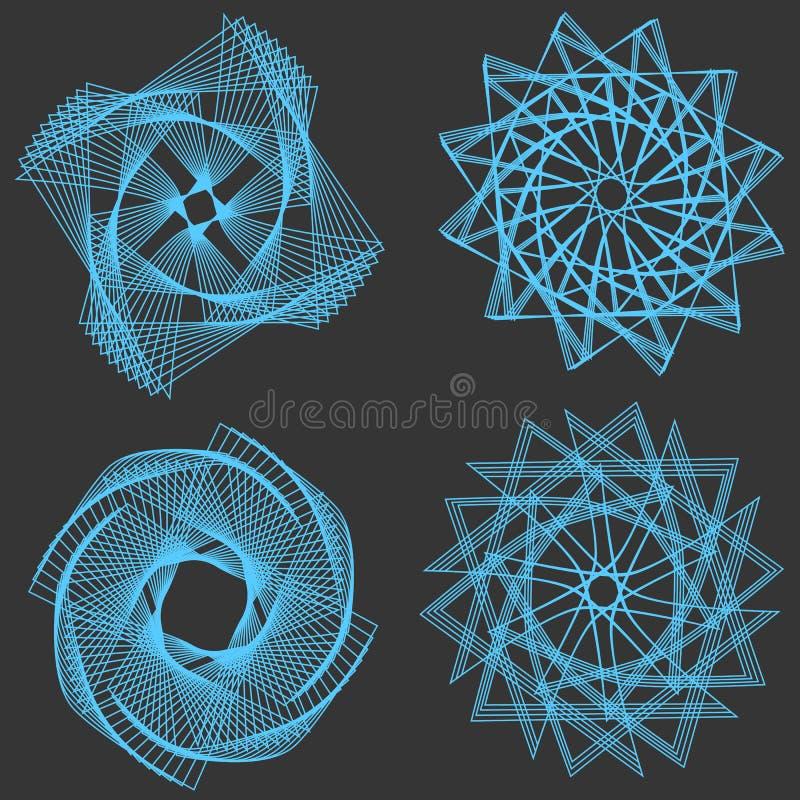 Uppsättning av beståndsdelar som kan användas till mycket för vektorspirograph royaltyfri illustrationer