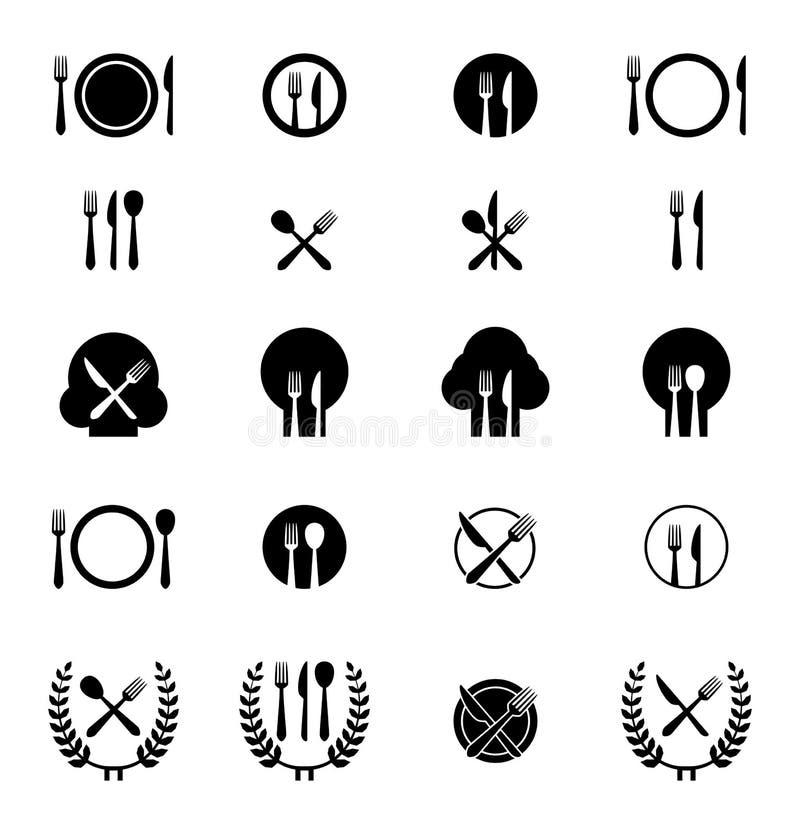 Uppsättning av besticksymboler royaltyfri illustrationer