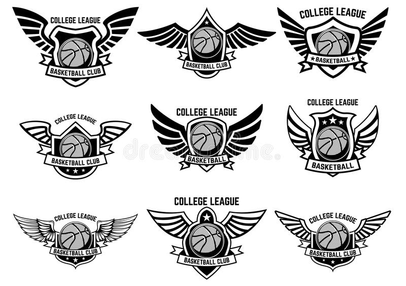 Uppsättning av bevingade emblem med basketbollen Planlägg beståndsdelen för logoen, etiketten, emblemet, tecken stock illustrationer