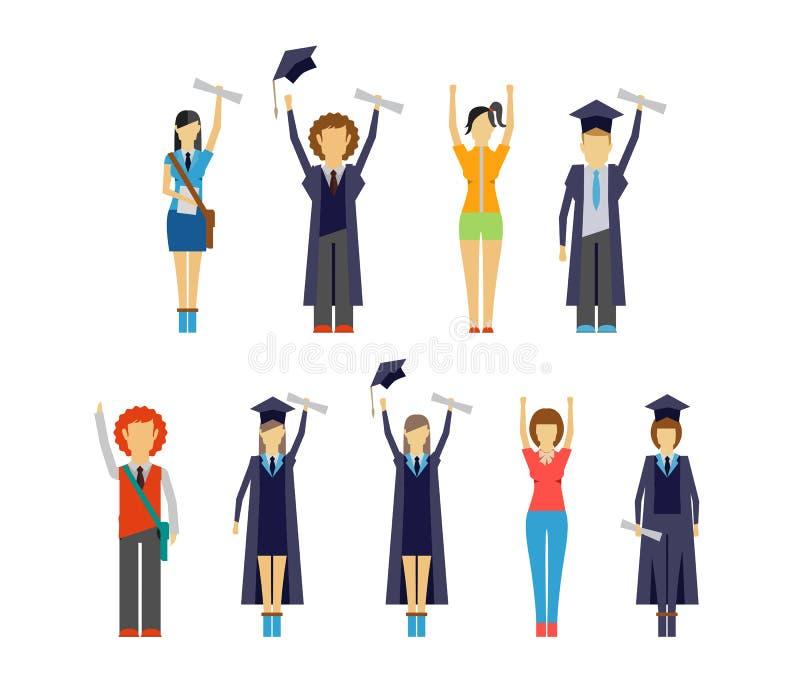 Uppsättning av bifallstudenter och kandidater vektor illustrationer