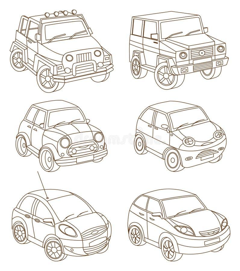 Uppsättning av bilar vektor illustrationer