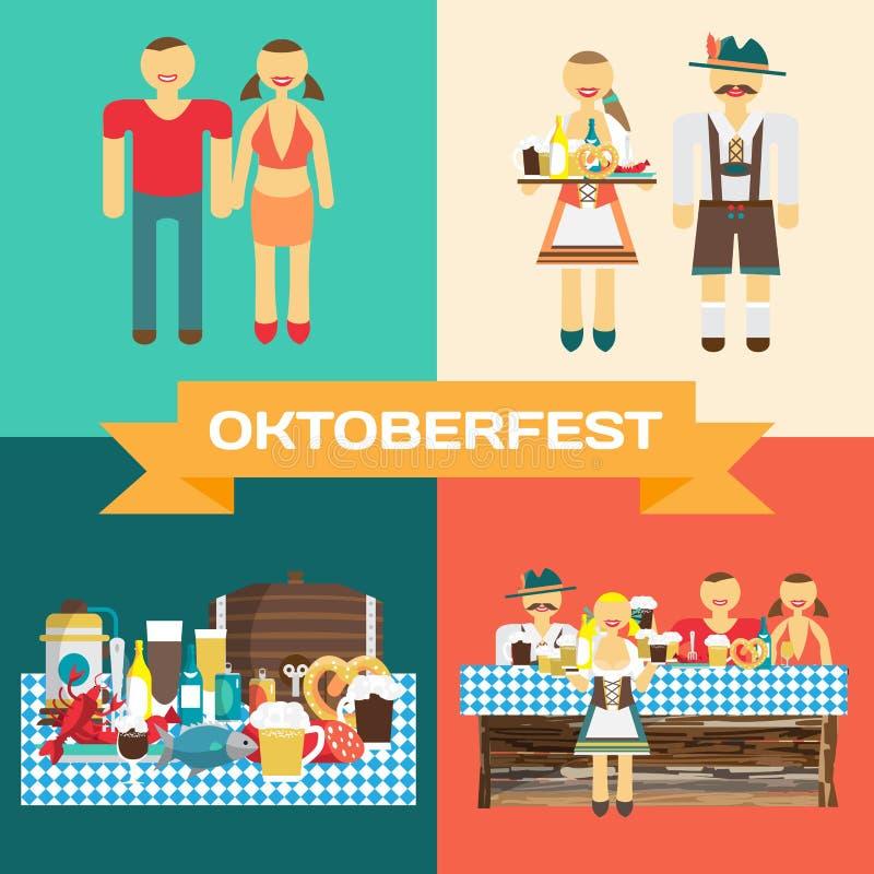 Uppsättning av bilder av berömmen av Oktoberfest stock illustrationer