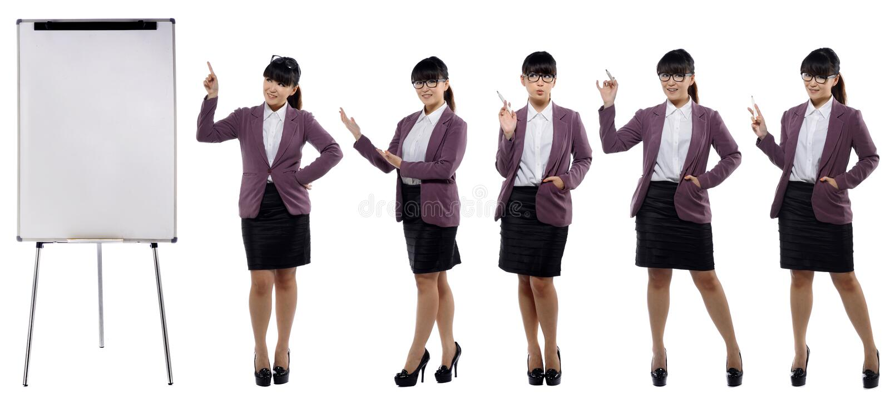Uppsättning av bilder av det unga attraktiva anseendet för affärskvinna med a fotografering för bildbyråer