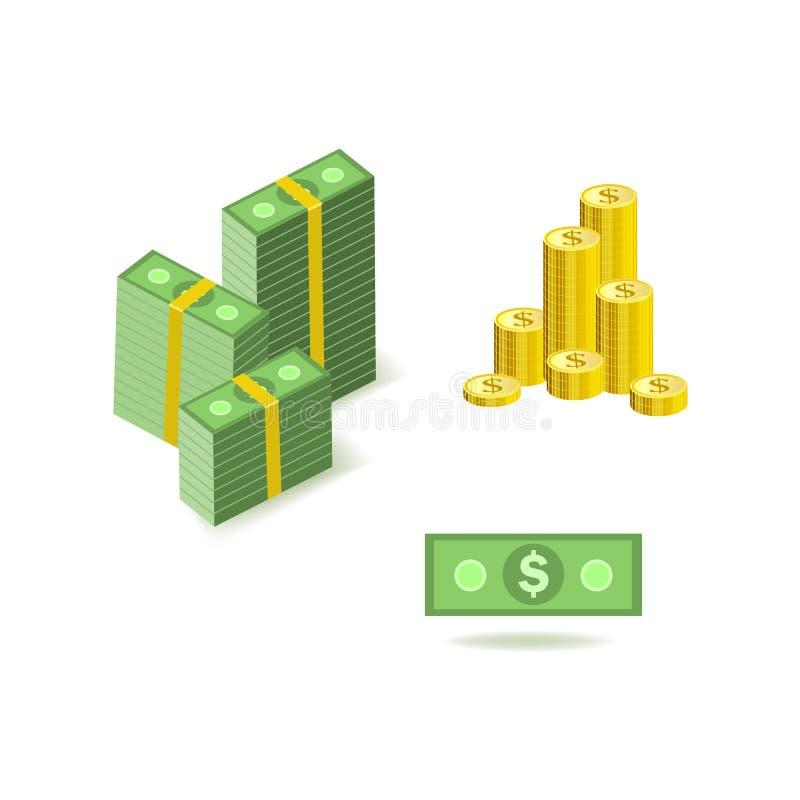 Uppsättning av bilder för tecknad filmpengarvaluta av gröna dollarpapperssedlar och guld- mynt royaltyfri illustrationer