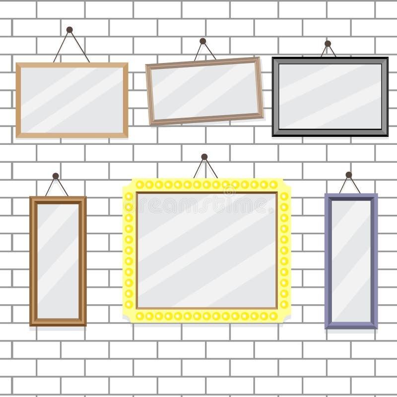 Uppsättning av bildramar på mall för tegelstenvägg vektor illustrationer