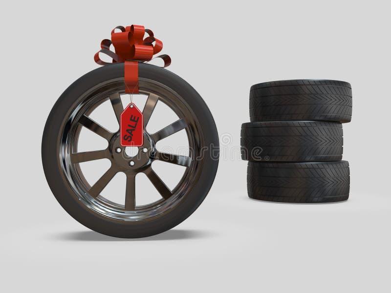Uppsättning av bilhjul på rabatten illustration 3d vektor illustrationer