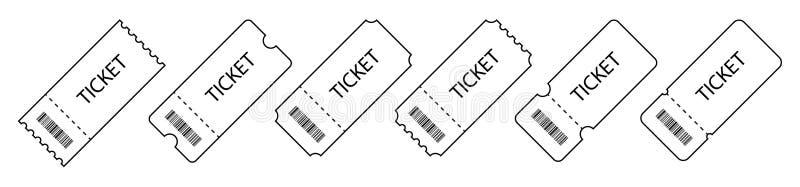 Uppsättning av biljetten Mallbiljetter Samling illustrationer av för för tappninggrungebiljetter och kuponger för vektorn vektor illustrationer