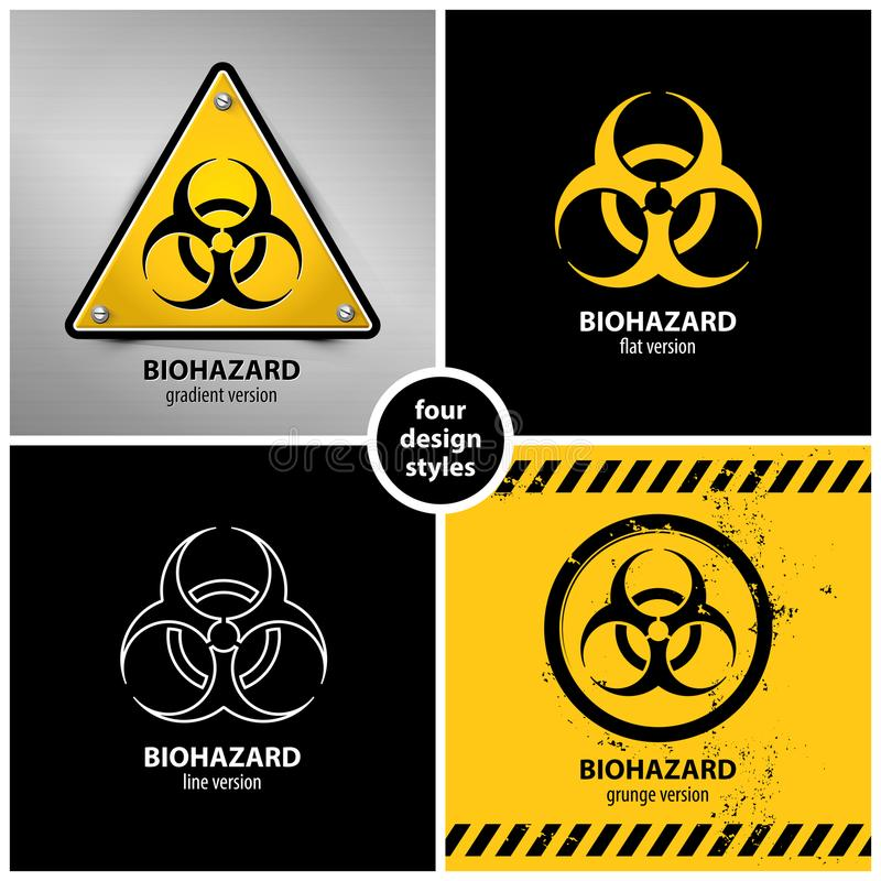 Uppsättning av biohazardsymboler stock illustrationer